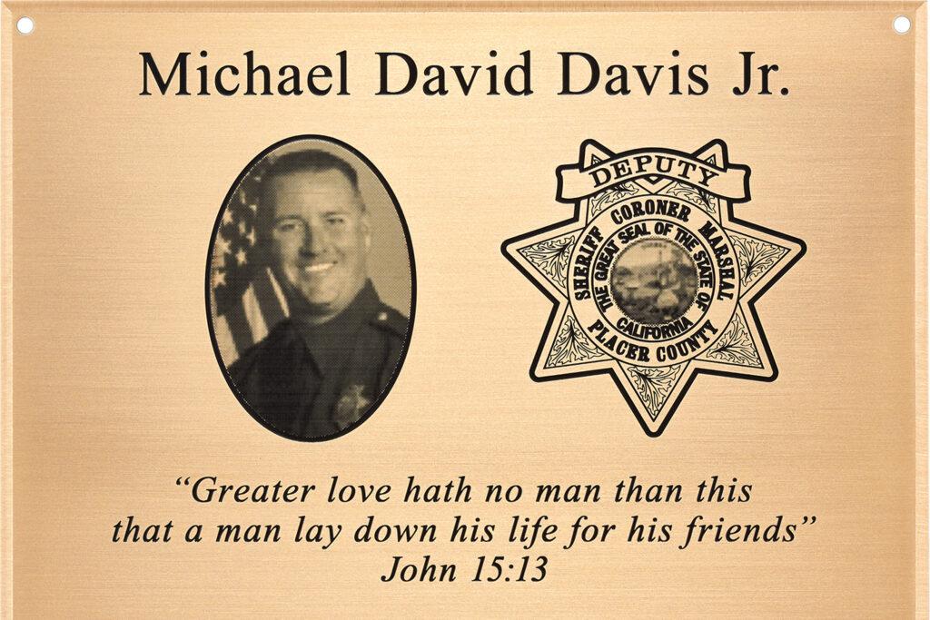 Michael David Davis Jr. plaque