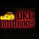 OKC Autobody lit sign