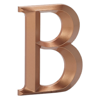 Injection molded letter B