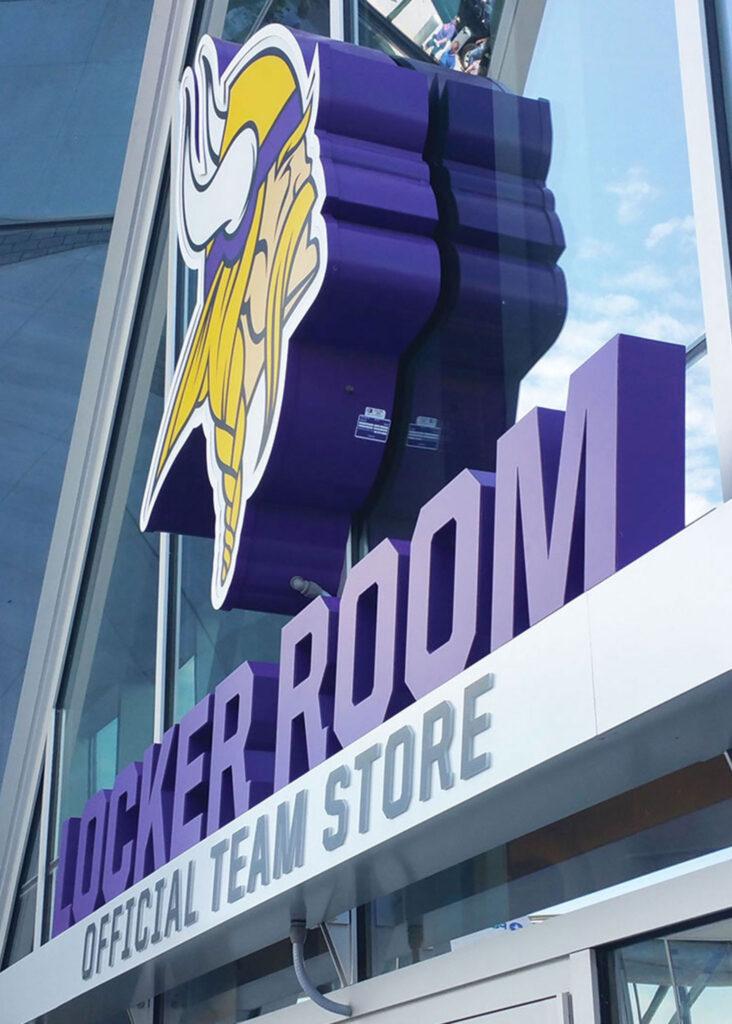 Vikings stadium outdoor signage